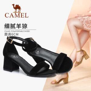 Camel/骆驼女鞋 2018夏季新款一字带露趾高跟鞋通勤百搭粗跟凉鞋女