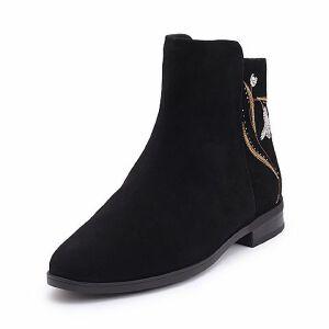 Teenmix/天美意2017冬专柜同款羊绒皮精美绣花方跟女短靴6T541DD7