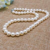 天然珍珠项链近圆纯珠8-9mm 送妈妈送婆婆长辈礼物生日礼物 近圆强光9-10mm 50cm