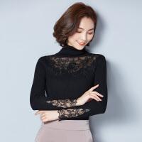 春夏秋冬新款蕾丝毛衣针织衫韩版套头高领长袖打底衫上衣女