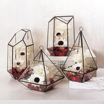 北欧现代简约几何玻璃罩花房摆件创意家居饰品客厅软装工艺品摆设 黑色 一套四个