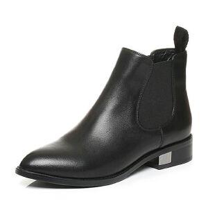 Tata/他她秋季牛皮时尚通勤套筒及踝靴方跟女短靴U3305CD6