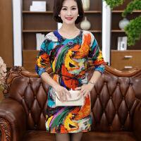 妈妈装秋装长袖连衣裙40-50岁收腰显瘦妇女羊毛裙子中老年女装潮