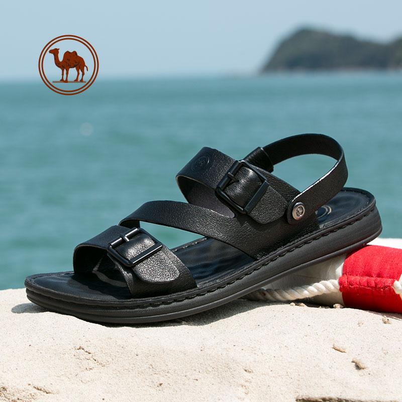 骆驼牌男鞋 2018夏季新品时尚真皮凉鞋男士百搭休闲透气沙滩鞋潮