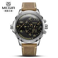 男士手表 新品时尚双时区多功能真皮石英男士手表