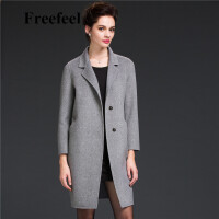 Freefeel2017新款春装羊绒大衣欧美风中长款时尚女装毛呢外套1681