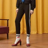 【全场2件2.5折,到手价:37.5】美特斯邦威休闲长裤女秋装新款踩脚针织裤女装学生运动裤子