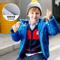【1件3折到手价:116.97】美特斯邦威旗下moomoo童装冬装男幼童羽绒服新款中童印花加绒连帽外套