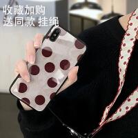 复古波点镜面苹果x手机壳iphonexs女7p潮牌玻璃6s全包防摔6情侣爱心苹果xs max硅胶个性 7/8 酒红波点