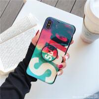 蓝光潮牌字母手机壳卡通xr苹果8plus软壳7p支架6s套xsmax 6/6s(4.7) 彩色粉末Sup+支架