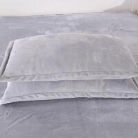 春秋季加厚法兰绒珊瑚绒枕套单人法莱绒枕套保暖枕头套48*74cm一对装 48cmX74cm
