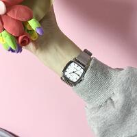春季复古文艺范小方表气质百搭情侣腕表简约金属女表方形手表
