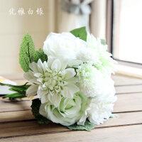 【支持礼品卡】仿真玫瑰花束 家居客厅卧室办公桌装饰摆件插花假花仿真绢花4vx