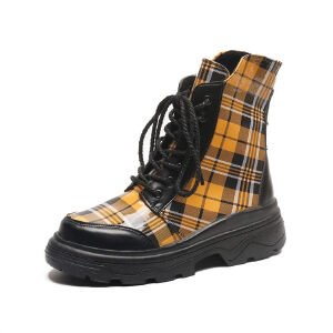 WARORWAR新品YM140-L-8025秋冬韩版格子松糕底女士靴子短靴