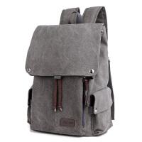 韩版男士背包休闲双肩包男时尚帆布男包旅行包潮流学生书包电脑包 灰色