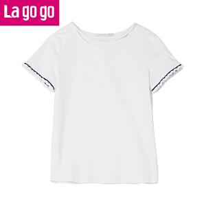 Lagogo/拉谷谷2018夏季新款撞色木耳边上衣女圆领T恤HATT335A06