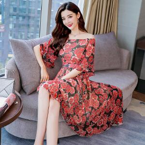 2018夏季雪纺连衣裙气质女士大码韩版雪纺裙碎花中长裙两件套