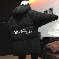 中长款印花面包服男士2018冬季新款大码连帽棉袄学生韩版潮流棉衣
