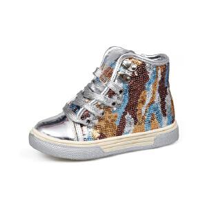 比比我女童亮片帆布鞋2017春秋新款儿童帆布鞋女高帮透气休闲鞋潮 防滑橡胶鞋底