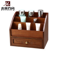 木质化妆盒 木制化妆品收纳盒 带抽屉桌面整理梳妆盒