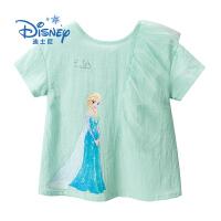 【3件2折后:49.9元】迪士尼冰雪奇缘童装女童夏装2020春夏新品艾莎时尚短袖T恤