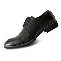 秋季黑色真皮男士商务休闲皮鞋尖头鳄鱼纹韩版正装英伦男鞋内增高 黑 8553