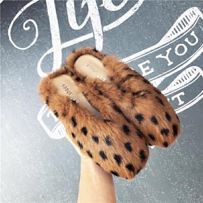 鞋子女冬2018新款平底平跟鞋懒人拖女鞋冬毛毛鞋女拖鞋时尚外穿女   走进大自然的怀抱,美丽从这里起步。