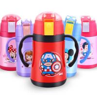 迪士尼儿童保温杯不锈钢防摔水杯带吸管杯幼儿园手柄宝宝婴儿水壶