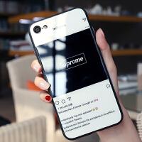 苹果6手机壳iphone6plus玻璃保护套硅胶软边苹果6splus手机壳新款情侣6p全包防摔6 苹果6/6s 黑底s