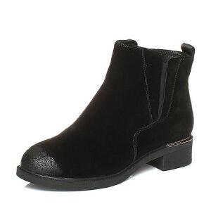 Teenmix/天美意2017冬牛剖层皮个性字母织带切尔西靴女靴YL107DD7