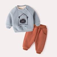 1岁宝宝洋气套装加绒冬季男童潮装2018新款女卫衣两件套婴儿冬装