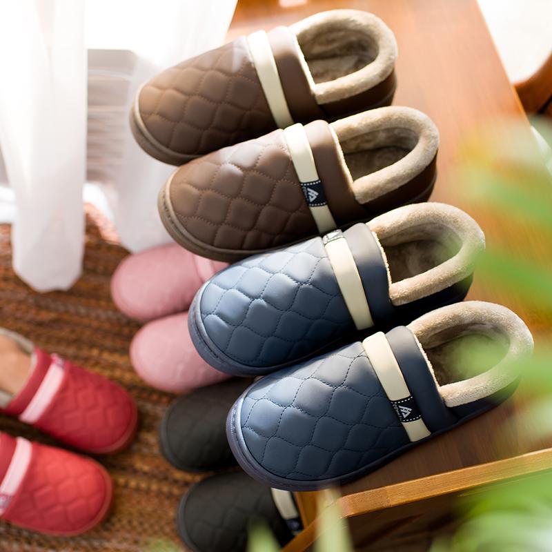棉拖鞋女防水包跟厚底居家冬季室内情侣保暖家居家用皮拖鞋男冬天