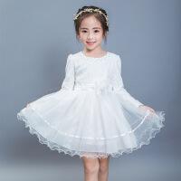 女童连衣裙秋季中大童韩版长袖公主裙儿童表演蓬蓬裙