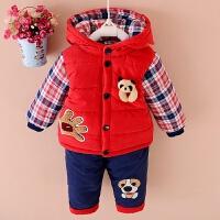 男童冬装套装儿童棉衣宝宝加绒加厚衣服婴儿童装0-1-2-3岁两件套