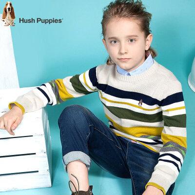 【3件3折:99.6元】暇步士童装男童毛衣针织衫春装新款中大童时尚彩条纯棉线衣衫 开学狂欢购