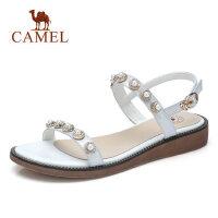 骆驼女士凉鞋平跟百搭 2018夏新款中跟坡跟 气质休闲妈妈时尚女鞋