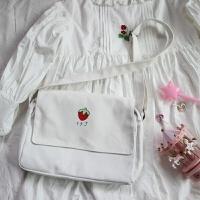 韩版单肩包女潮学生原宿 ulzzang少女心斜挎包软妹日系草莓帆布包