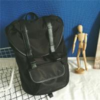韩版书包时尚潮流男士双肩包旅行背包电脑包 黑色