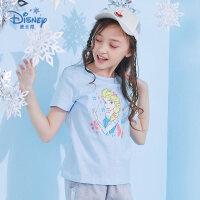 【专区99元3件】迪士尼冰雪奇缘童装女童夏装2020春夏新品短袖印花T恤