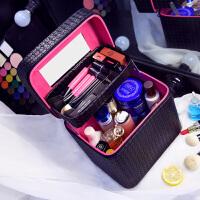 大容量化妆包双层便携手提化妆箱大号简约化妆品收纳盒旅行小方包s6 黑色