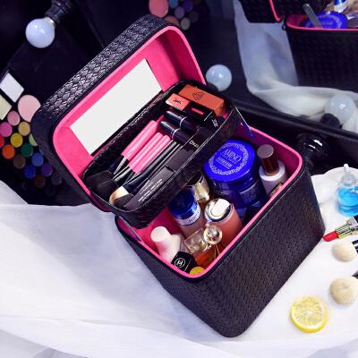 大容量化妆包双层便携手提化妆箱大号简约化妆品收纳盒旅行小方包s6 黑色 发货周期:一般在付款后2-90天左右发货,具体发货时间请以与客服协商的时间为准
