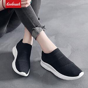 【限时抢购价】Coolmuch女子跑步鞋轻便缓震透气运动休闲袜子鞋健步慢跑鞋KMNF02