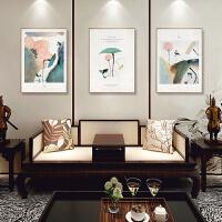 新中式装饰画客厅三联画挂画沙发背景墙风景画山水画水墨画中国风 三幅(80*120cm)相同尺寸组合 油画布C-1