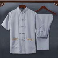 夏季中老年唐装男亚麻短袖套装爸爸装中国风立领刺绣爷爷装晨练服