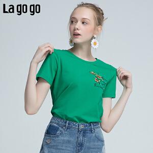 Lagogo/拉谷谷2018夏季新款时尚刺绣钉珠女上衣 T恤HATT314M03
