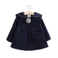 冬装新款女童小猫海军领时尚毛呢大衣翻领加厚外套可爱A1-A19