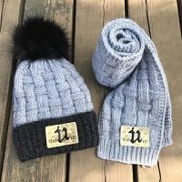 冬季儿童保暖帽子加绒冬天男女童针织护耳帽套装毛线帽围巾两件套 灰色 U标加绒款 帽子+围巾 均码