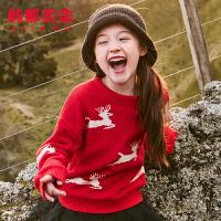 【1件3折102元】韩都衣舍童装2019冬装新款女童韩版儿童纯棉毛衣针织衫TD9046昱