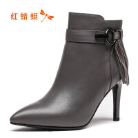 【红蜻蜓1件2折,领�宦�100再减20】红蜻蜓女靴短靴高跟冬季真皮女靴黑色短筒细跟尖头马丁靴