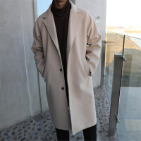 男士风衣中长款韩版宽松帅气潮牌长款过膝落肩呢子大衣外套秋冬季